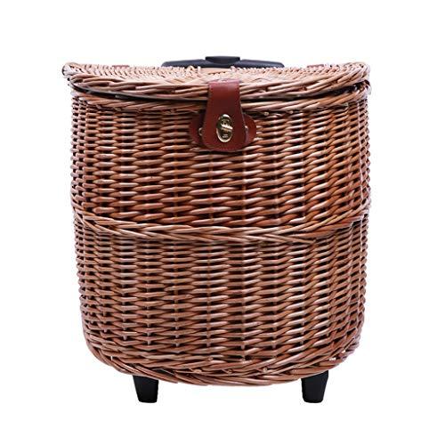 szy Picknickkörbe Picknick Set Trolley Picknickkorb Multifunktionale Roller Wärmedämmung Picknickkorb Mit Besteck Und Deckel Picknickkorb for 2 (Color : Natural, Size : 42 * 41 * 28.5cm)