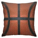 Pelota negra Vista cerrada del baloncesto Equipo de actividades de cuero rojo Juego divertido Juego de ropa de cama Cojines de 18 x 18 pulgadas Cojines de cama y sofá Cojines decorativos para interior