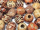 50 Perlas de Madera Natural, 16 mm, Perlas de Madera, para enhebrar, Bolas de Madera, Redondas, diseño étnico para Manualidades, Agujero de 5 mm, H56