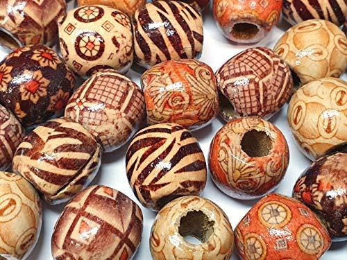 50stk Natur Holzperlen, 16mm Holz Perlen, zum auffädeln Holzkugeln Runde Mix Ethnisches Motiv zum Basteln 5mm großes Loch Spacer Zwischenperlen H56