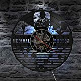 BFMBCHDJ Doctor en Medicina Hospital Citología Arte Vinilo Reloj de Pared Enfermera registrada Caduceo Latido del corazón Figura Enfermera Oficina Luz Nocturna
