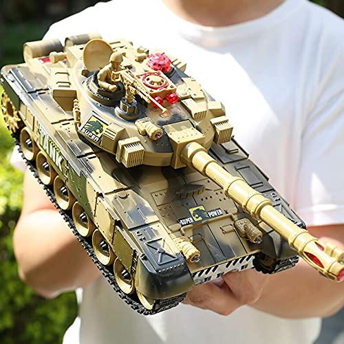 PETRLOY Cargador Tanques de control remoto Tanque de RC interactivo grande Lanzamiento de batalla 2.4GHZ Inalámbrico a campo traviesa Vehículo con orugas Juguetes Modelo electrónico Simulación de soni