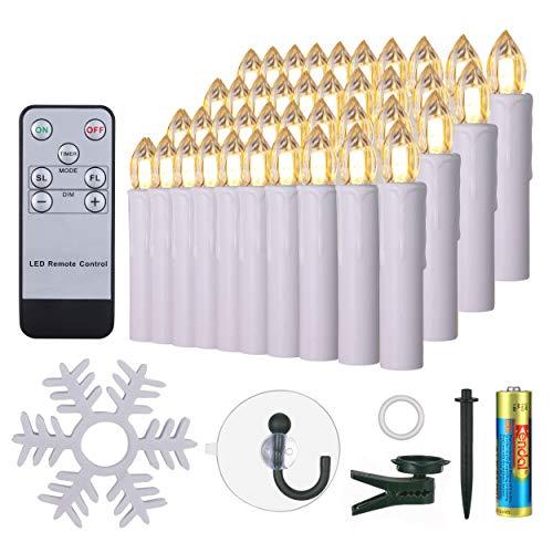 40er LED Kerzen mit 40x Batterien Halter Fernbedienung Timer Dimmbar warmweiß IP64 wasserdichte Weihnachtskerzen Lichterkette Fenster Beleuchtung für Weihnachtsbaum Geburtstags Kirche Deko, weiß