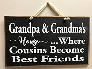 123RoyWarner Grandpa Grandmas House Where Cousins Become Best Friends Sign Grandparents Gift