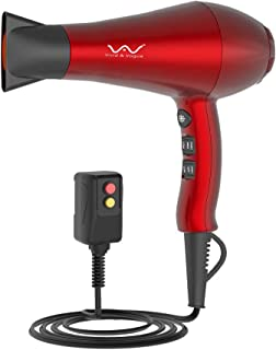 Vivid&Vogue 1875w Powerful Negative Ion Hair Dryer, Ceramic Professional Far Infrared Blow Dryer 2 Speeds 3 Temperatures Cool Shot Button with Concentrator, Red (Cola Red)
