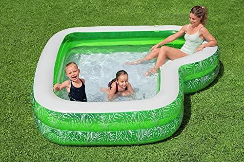 Aufblasbarer Family Lounge Pool Eckig Gross   Planschbecken   Aufstellpool   Swimmingpool   Kinderpool   Schwimmbecken für Kinder Erwachsene für Garten   231 x 231 x 51 cm
