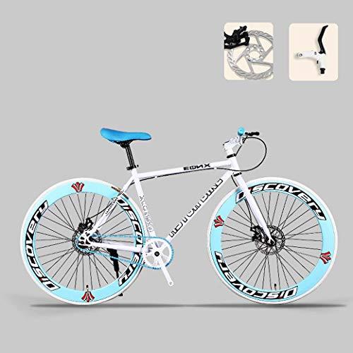 ZTYD Straßen-Fahrrad, 26-Zoll-Bikes, Doppelscheibenbremse, High Carbon Stahlrahmen, Straßenfahrradrennen, Männer und Frauen Erwachsener,D