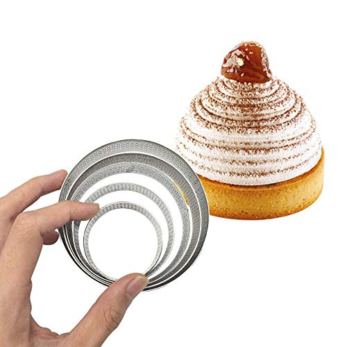 Juego de 5 anillos de acero inoxidable para tarta de huevo para hornear anillos, molde perforado para pasteles, postres, panadería, herramientas