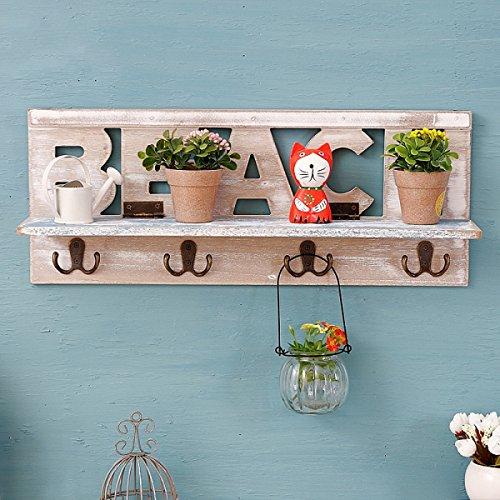 Tao Vintage Rack Flower Regal mit Haken Speichereinheit American-Stil Dorf Wall Locker Wandschrank für Wohnzimmer Küche aus Holz, creme-weiß (19.7 * 4.3 * 7.9 Zoll)