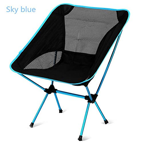 YFCTLM Silla Plegable Sillas Compacto y Ligero Que acampa Plegable Mochila, Silla Plegable portátil for al Aire Libre, Playa, Pesca, Senderismo, Picnic, Viajes (Color : Sky Blue)