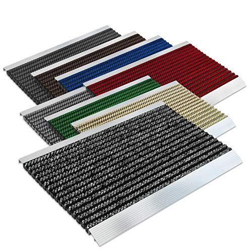 Floordirekt PRO Repräsentative Fußmatte Profi Brush - Testurteil Sehr Gut - Schmutzfangmatte mit Alu Rahmen für außen und innen - Verschiedene Bürsten Farben und Größen (50x80cm Schwarz Weiß)