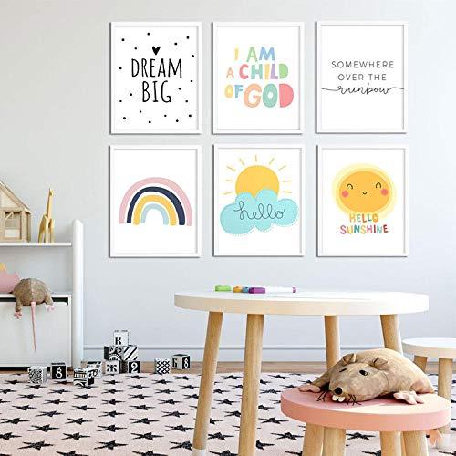 MYBHGRFDG Hello Sunshine Cartoon Sun Rainbow Decorazione della Camera dei Bambini per Bambini Pittura su Tela Decorazione della casa Decorazione del Soggiorno Poster|30x42cmx6 No Frame