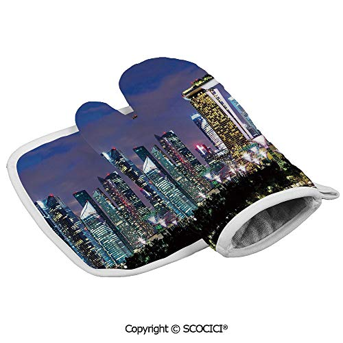 Homenon Oven Mitts,Professional Heat Resistant Singapore Cityscape at Night Modern Architecture Urban Life Asian Non-Slip Kitchen Oven Glove for Cooking,Baking,Barbecue Potholders