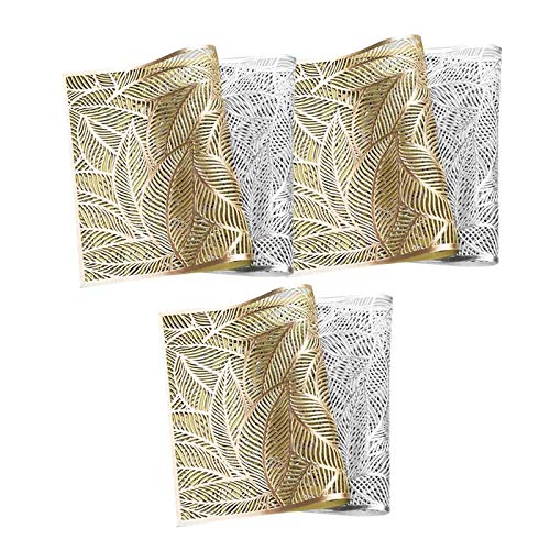 Moligh doll 6 Pack Hot Stamping Hollowed-Out Insulated Placemat,Leaf Pattern Coffee Cup Mats Kitchen Home Decor,Golden+Silver