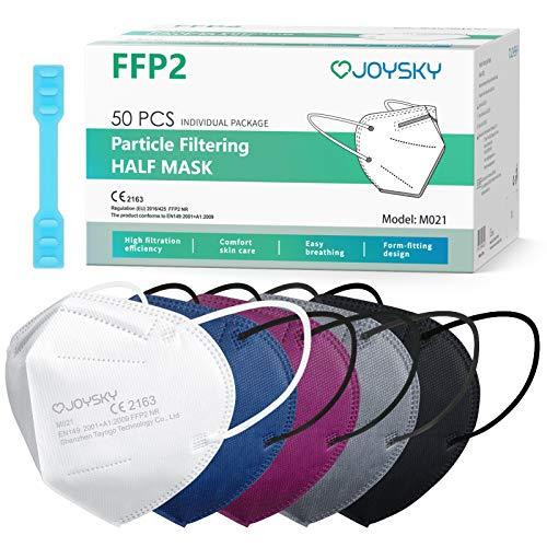 JOYSKY Mascarillas FFP2 Faciales Desechables FFP2, 50pcs Mascarilla de Protección de 5 Capas, Mascara de Filtración Multicapa Antipolvo para Boca y Nariz, 5 colores combinados