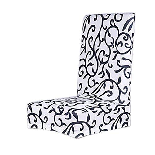 MagiDeal Housse de Chaise de Salle à Manger Couverture Amovible Stretch - Blanc avec Imprimé Floral Noir