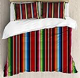 Juego de Cama Cinco de Mayo Mexican Serape Stripes Vertical Lines Latino 1 Quilt Cover 86'x70'+ 2 Pillowcases 30' X 20'