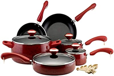 Hard Porcelain Enamel Nonstick Cookware Set, The Best Signature Red Coloured Hard Enamel Porcelain 15