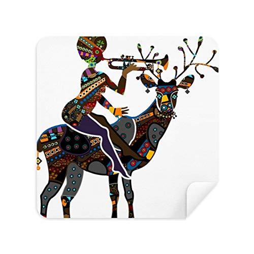 Afrikaanse Aboriginal Zwarte Vrouwen Herten Trompet Bril Schoonmaken Doek Telefoon Scherm Cleaner Suede Stof 2 stks