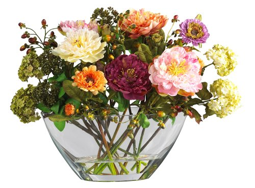近自然4668牡丹与玻璃花瓶绢花安排,混合