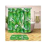 Anwaz Duschvorhang & Badteppich Set Anti-Schimmel aus Polyester Multi-Blatt Muster Design Bad Vorhang Badezimmerteppiche Grün mit 12 Duschvorhangringen für Badewanne - 165x200CM/ 40x60CM