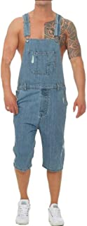 GUOCU Mens Jean Shorts Bib and Braces Overalls Denim Dungarees Vintage Ripped Distressed Jumpsuit Casual Playsuit