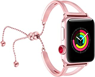 fastgo Bracelet Compatible for Apple Watch Band 38mm 40mm 42mm 44mm, 2018 Dressy Fancy Jewelry Bangle Cuff for Iwatch Bands Series 5 4 3 2 1 Women Girls Adjustable Stainless Steel