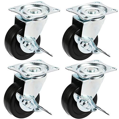 Casters 4 Stück Stummschaltung Gummi Lenkrollen 1.5 Zoll / 2 Zoll / 2.5 Zoll / 3 Zoll Schwenkbarer Industrierollen Mit Brems Trolley Räder schwarz