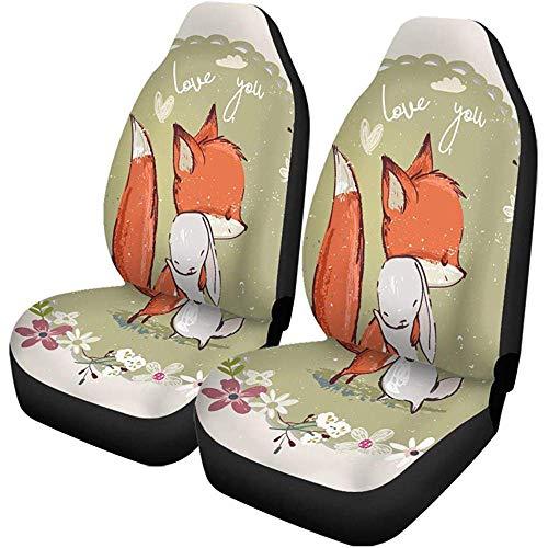 Little Hare Fox Autostoelhoezen, 2 stuks, voor meisjes, voor in de auto, SUV, limousine, vrachtwagen