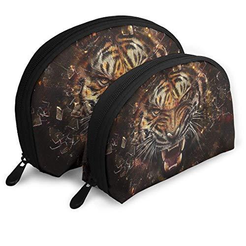 XCNGG Bolsa de almacenamiento Big Cat Tiger Glass Logo Bolso de maquillaje de viaje portátil Organizador de artículos de tocador impermeable Bolsas de almacenamiento
