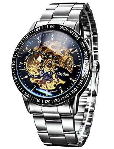 Carrie Hughes Men's Steampunk Automatic Watch Self-winding Skeleton Mechanical Stainless Steel Silver 88226GA