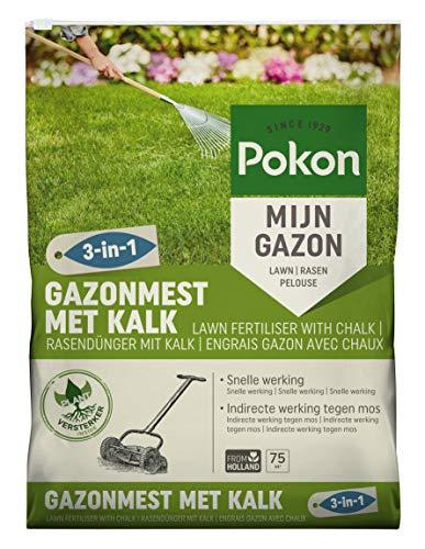 Pokon Rasendünger mit Kalk 3-in-1, organischer Komplettdünger, Sofort und Langzeitwirkung zur ganzjährigen Rasenpflege, 5 kg, 75 m²