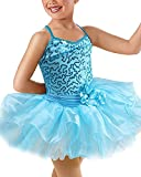 OBEEII Vestido Maillot de Danza Ballet Tutú para Niña Vestido de Princesa Fiesta Actuación 9-10 Años Azul