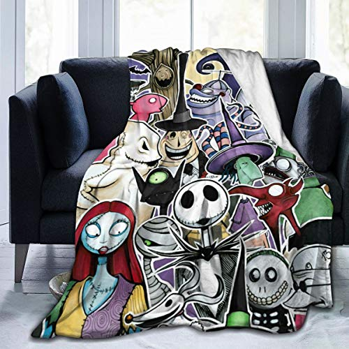 Wakaltk The Nightmare Before Christmas Throws Blanket Comfort Lightweigt Warmth Soft Cozy Blanket Fleece Blanket Couch Blanket Reversible Bed Throw TV Blanket for Kids Boys Girls 80' x60''