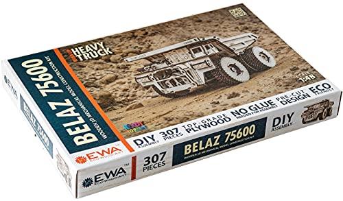 EWA Eco-Wood-Art EWA EcoWoodArt 3D Holzpuzzle für Jugendliche und Erwachsene-Mechanischer LKW BELAZ 75600 Modell-DIY-Bausatz, Selbstmontage, kein Kleber erforderlich