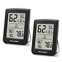 PEAKEEP accurate digital hygrometer and thermometer utilizes professional-level sensor imported from Switzerland and is pre-calibrated. Humidity monitor range is from 1% RH – 99% RH with ±3% RH tolerance; temperature meter range is from -40℉ – 158℉ (...