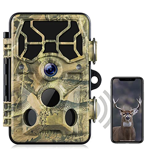 WLAN Wildkamera-20MP 1296P Upgrade Bluetooth, WiFi mit Bewegungsmelder Nachtsicht Wildlife Jagdkamera, Wildtierkamera mit Nachtsichtbewegung Wasserdicht IP66