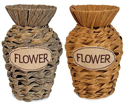 TIED RIBBONS Set of 2 Decorative Flower Vases Pot for Center Table Living Room Flowers Home Garden Side Corners Dining Room Bedroom(Multicolor)