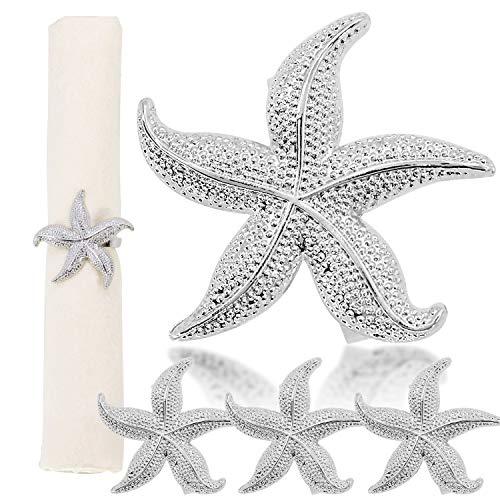 Elehere Starfish Napkin Rings Set of 6 Silver Ocean Coastal Nautical Wedding Party Beach Table Decor