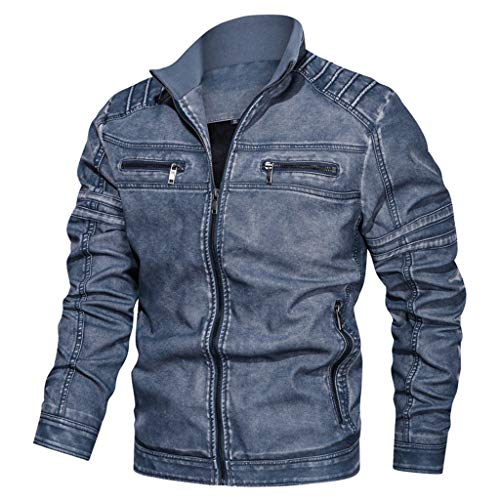 DNOQN Männer Jacke Winter Pullover Herren Jacken Online Jeansjacke Große Größe Solide Beiläufig Washed Lederjacke mit Stehkragen Blau L