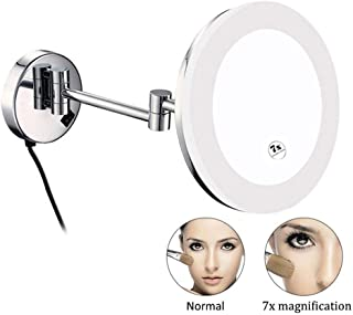 10X Magnified Wall Mounted Makeup Mirror with LED Light, Folding 8in Double Sided Vanity Mirror