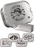 DUDE BOX Brotdose Edelstahl 1200ml | auslaufsicher & nachhaltig | Lunch Box Erwachsene mit Trennwand | Bento Box Butterbrotdose Brotbüchse mit Fächern (Custom Motors)
