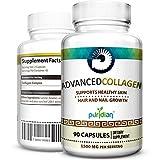 Pastillas De Colageno Hidrolizado Puro Y Natural En Capsulas Con Vitaminas para El Pelo Uñas Y Piel Saludable Advanced Collagen para Mujer Y Hombres Con 90 Capsules De Colágeno 1500 mg