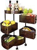 Meinirui Carrito de la carrito de la cocina enrollable, carrito de servicio de multifunción de 5 capas con ruedas, fruta giratoria y cesta de verduras, para baño, sala de estar
