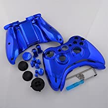 Custom Chrome Blue Full Housing Shell Case For Xbox 360 Controller with Tools