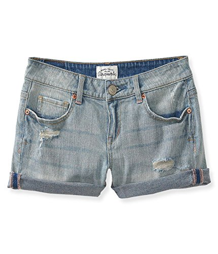 Aeropostale Women's Midi Jean Shorts Light Wash Destructed 0