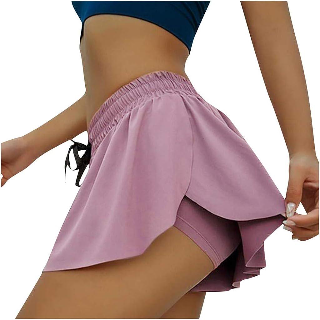 kolila Womens Shorts Running Athletic Shorts Double Layer Elastic Waistband Sport Shorts for Workout Fitness Gym Training