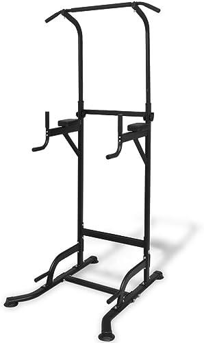 Roderick Irving Tour de Musculation Acier laqué + Coussin en Cuir synthétique 104 x 94 x 182-235cm(L x I x H) avec Capacité de Charge maximale 160kg Noir