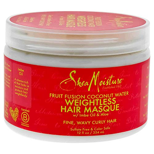 Shea Moisture Fruit Fusion Coconut Water Weightless Hair Masque, 12 Ounce (Pack of 3)