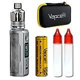 Voopoo Drag X Plus 100W Pod Mod Kit + Vapcell INR 21700 4000mAh、ケース、エンプティボトルセット (Smoky Grey)